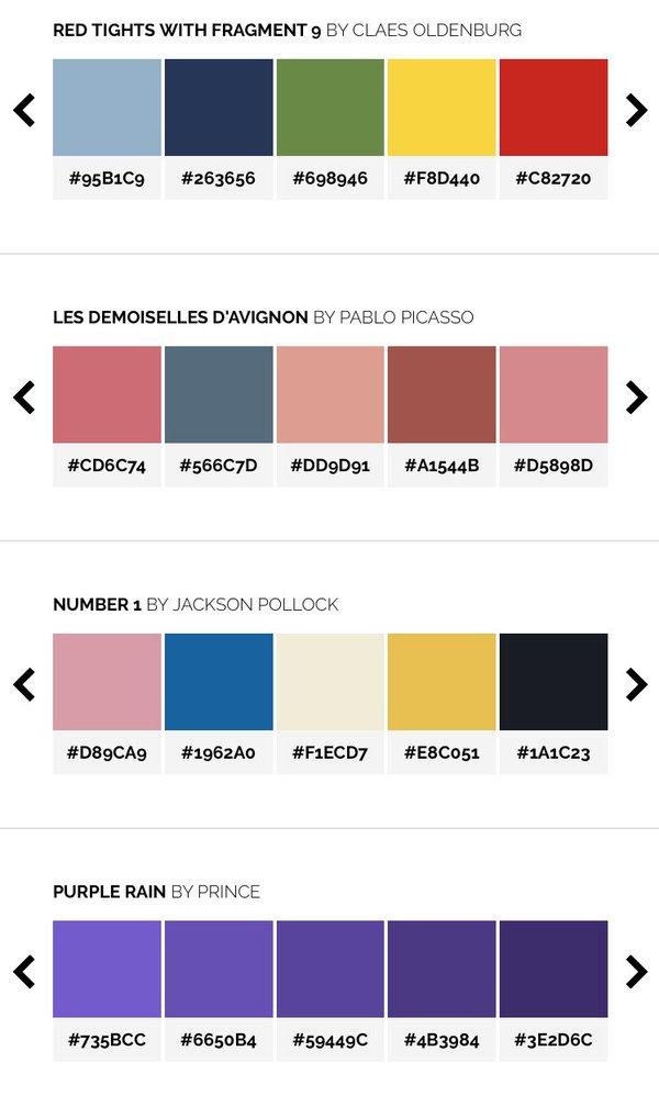 Sitio del día: Color Lisa, la paleta de colores de pintores famosos ...